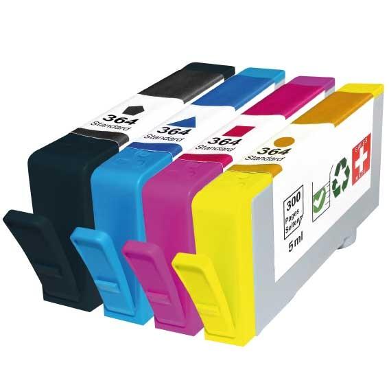 Pack 4 cartouches rechargées HP 364